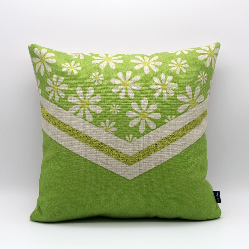 45x45cm Green Flower White Burlap Cushion Cover