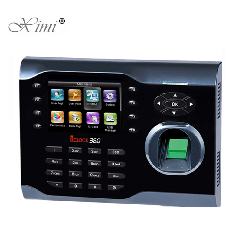 High Speed TCP/IP Biometric Fingerprint Time Attendance Time Recorder ZK Iclock360 Linux System 3 Inch Color Screen Time Clock