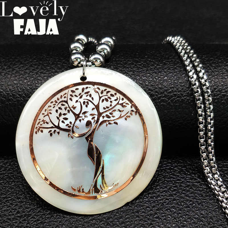 2019 Shell Stainless Steel Statement Necklace Women Tree of Life Rose Gold Color Long Necklace Jewelry bisuteria mujer N18415