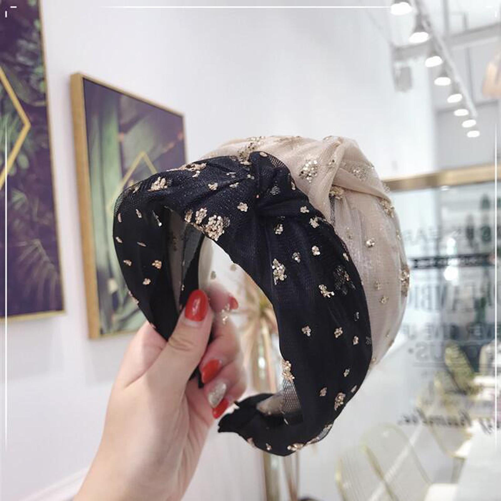 Fashion Girls Headband Shiny Snowflake Rhinestone Hairband Wide Side Middle Knot Turban Bandanas Hair Accessories