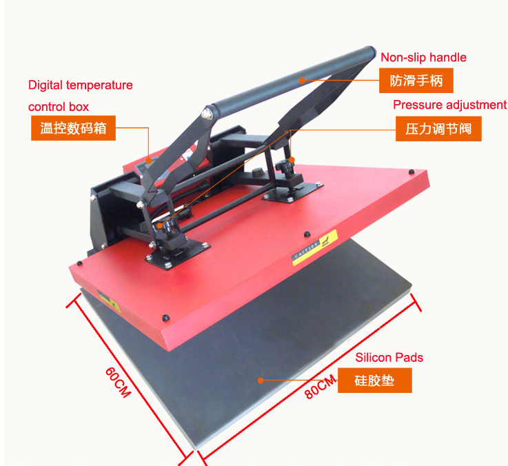 купить 60x 80cm large high pressure manual heat press machine hand t shirt large printing machine недорого