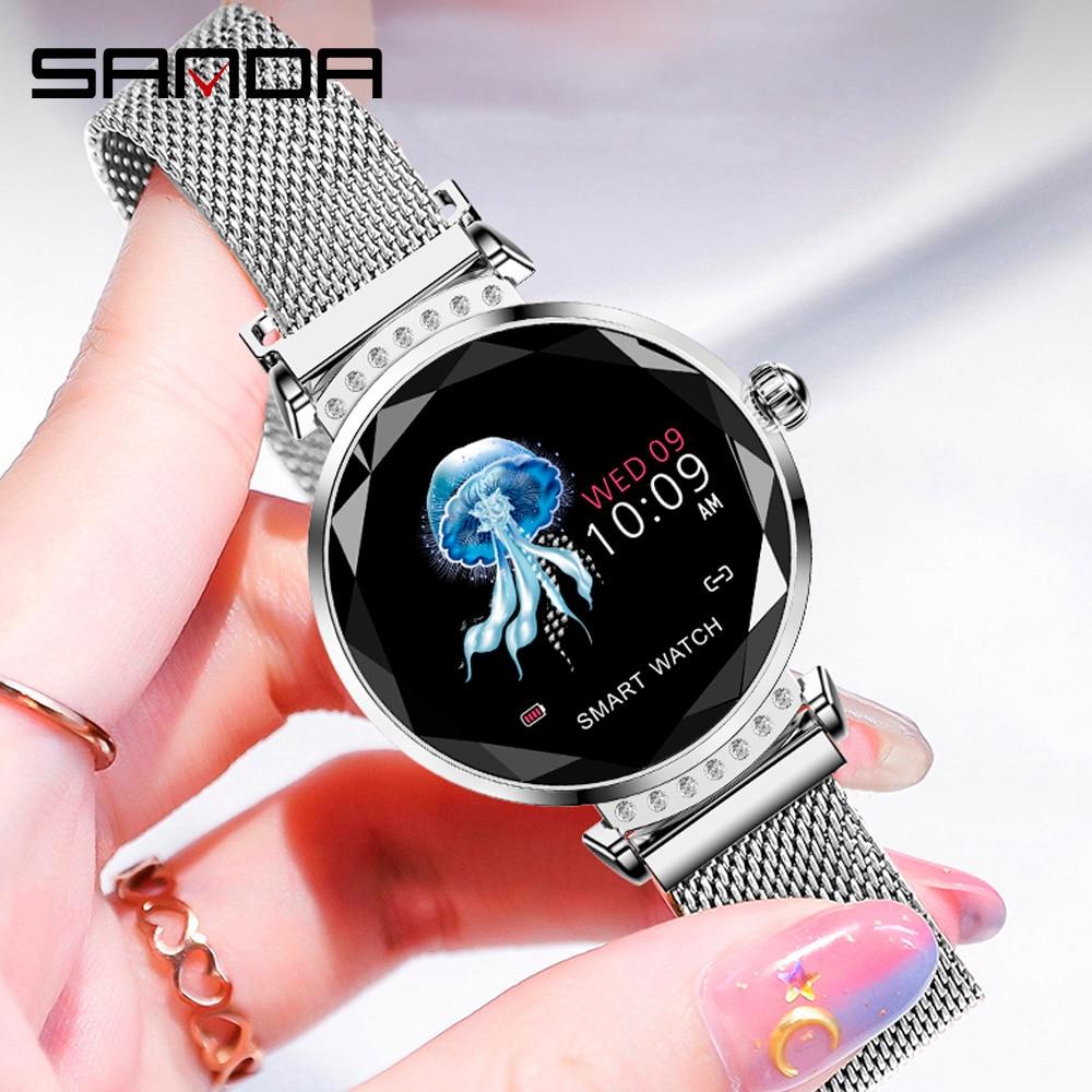 Новинка 2019, Модные Смарт часы, женские часы с бриллиантовым стеклом и сетчатым ремешком, пояс для измерения пульса, артериального давления,