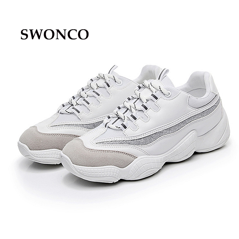 SWONCO Womens Vulcanize Shoes Lady Casual White Shoe Women Sneaker Woman Shoes Sneakers 2018 Autumn Thick Sole Gril Shoe