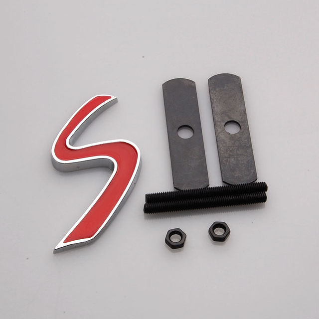 BBQ@FUKA Auto Car Metal Red S Front Grille Badge Fit for Mini Cooper S Hood Emblem Grill  Car styling Accessary