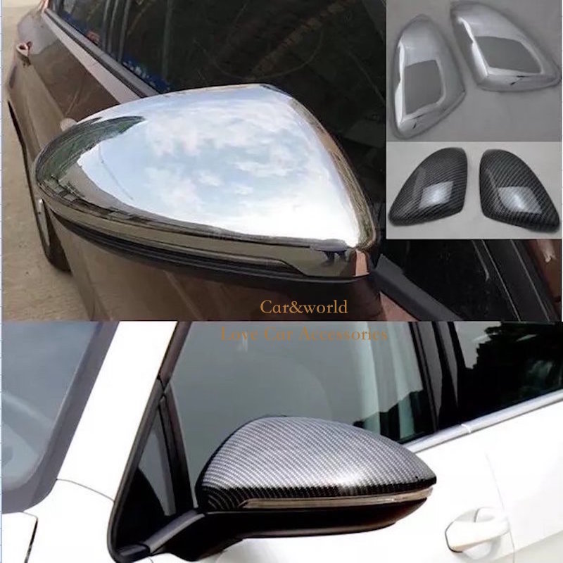 For Volkswagen VW GOLF 7 MK7 GTI R 2013 2014 2015 Matte Chrome Side Rear View Rearview Mirror Cover Shell Trim Stickers Styling 2014 2015 2016 vw golf 7 replacement carbon fiber door side wing mirror covers for volkswagen golf mk7 gti golf7 r car tuning