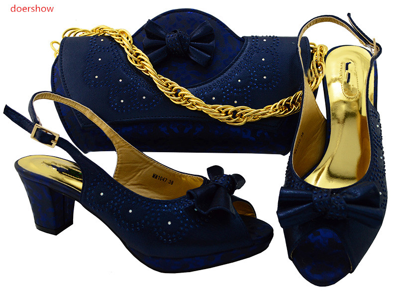 doershow  D Italian Ladies Shoes and Bags To Match Set African Women Italian Shoes and Bag Set Rhinestone Wedding Shoes!SWR1-34