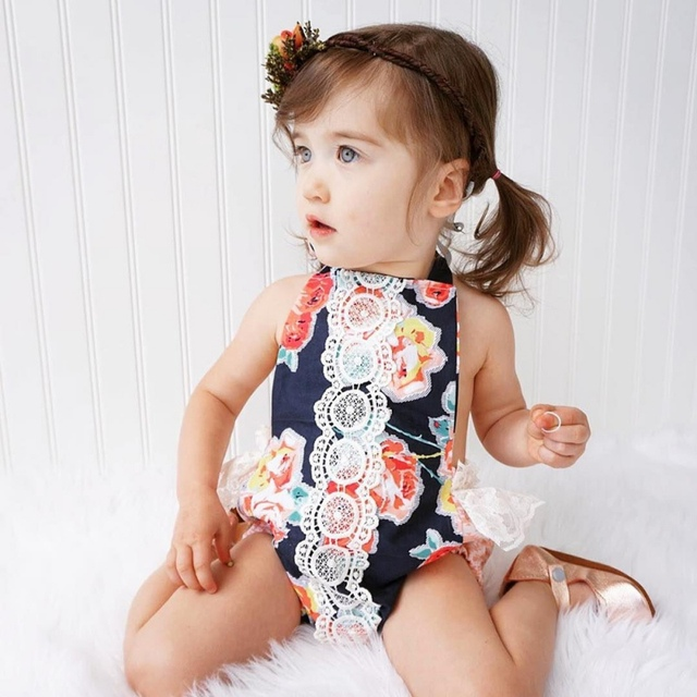 Nouveau,né bébé filles vêtements vintage floral filles salopette bébé  barboteuses de noël style bébé