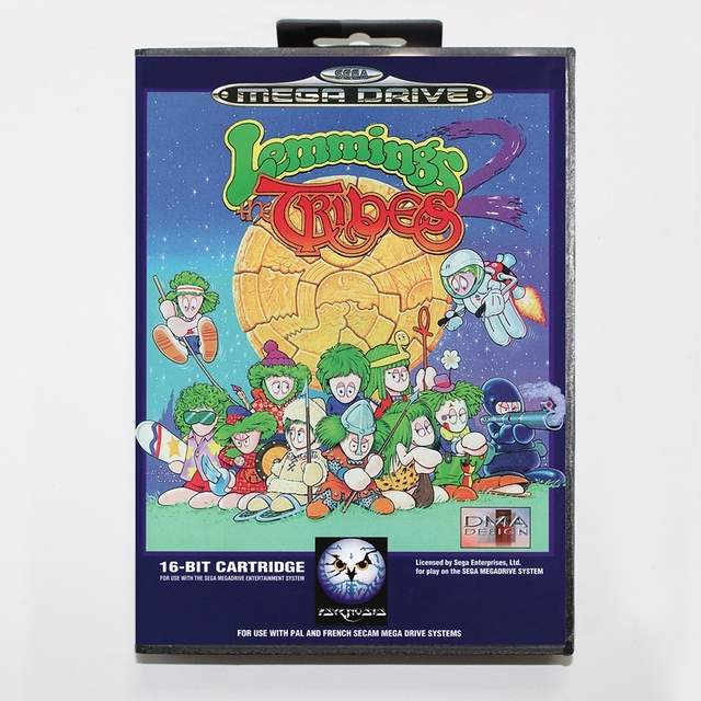 Juegos Sega Md Tarjeta Lemmings 2 Con Caja Para Consola De