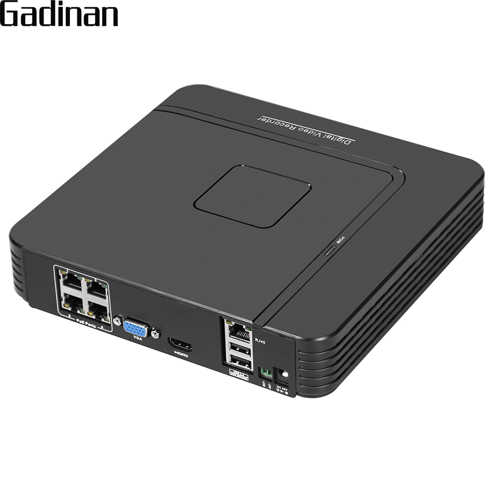 GADINAN Mini 4CH POE NVR 48V 1080P HDMI Full HD Network Video Recorder CCTV System