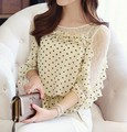 Free Shipping 2014 Spring New Arrival Koran Lotus Leaf Dots Printed Lace Half Sleeve Woman Chiffon Blouse Apricot/Black