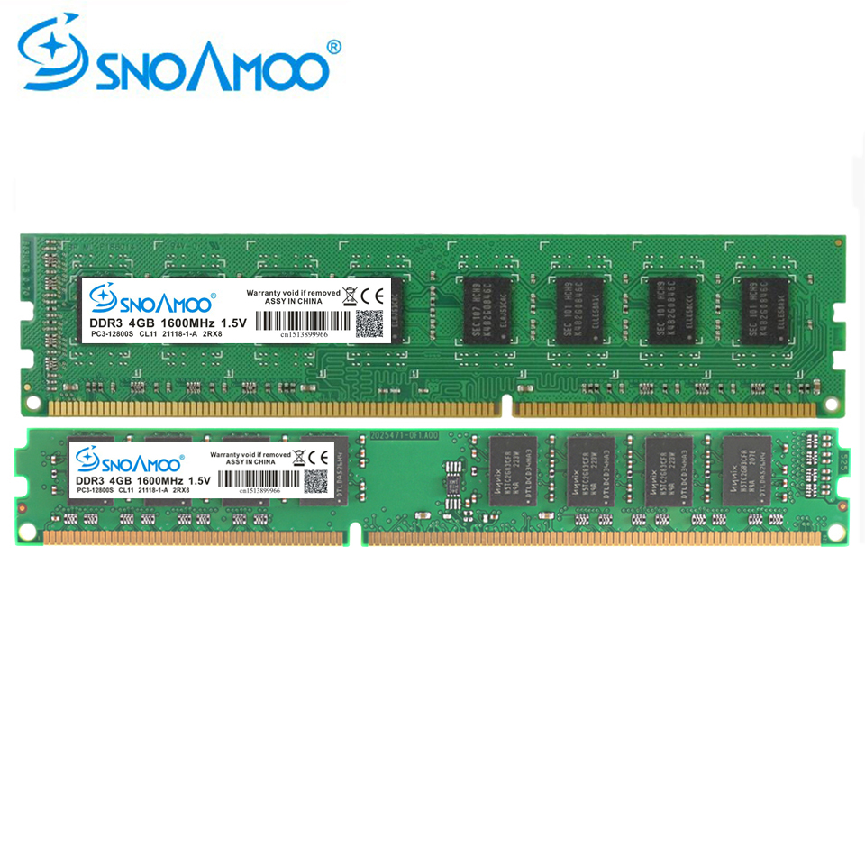 SNOAMOO PC De Bureau Ram DDR3 2G 4G 8G 1333 MHz 1600 MHz 240-Pins RAM Mémoire 1.5 V DIMM Pour AMD non-ECC PC Mémoire Garantie À Vie