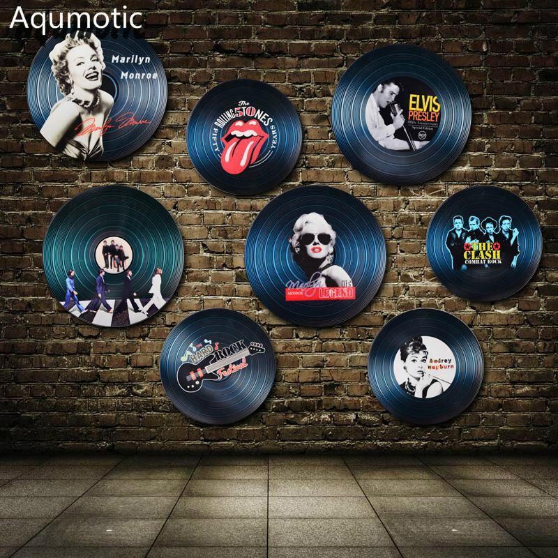 Aqumotic Holz Schallplatte Wandaufkleber Rekord Dekorationen Modell Europa  Sterne UNS Stern Wand Dekor Für Bar Kaffeehaus Rock Farbe