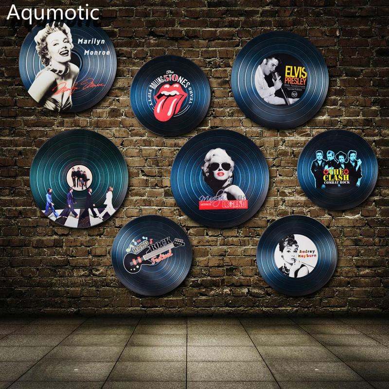 Aqumotic hout Vinyl Record muursticker Record decoraties Model Europa Star US Star muur Decor voor Bar koffie huis rotskleur