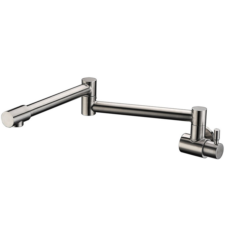Single Function 1 Hole Single Brushed Nickel Stainless Steel Wall Mount Retractable Pot Filler Kitchen Sink Faucet