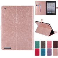 For IPad 2 Case Luxury Sunflower 3D Embossed Floral Leather Kickstand Case Cover For IPad 4