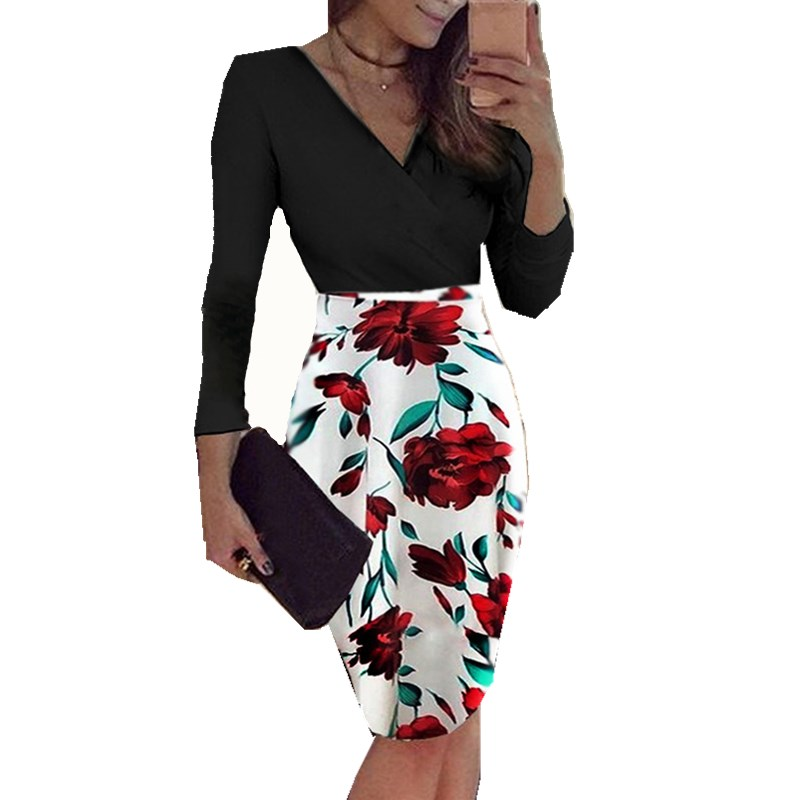 Sensible New Women Bodycon Dress Deep V Neck Long Sleeve Floral Print Polka Dot Evening Party Female Summer Beach Dress Vestidos Online Shop Women's Clothing