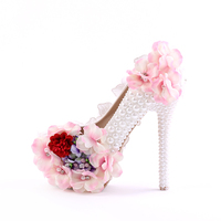 White pearl rhinestone high with round wedding shoes pink lace flower fine with bridal shoes waterproof table shoes