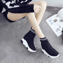 Knitting boots, women 2017 new socks shoes, female wedges and trendy women's shoes