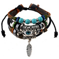 Retro rope Adjustable Leather men Multilevel Feather turquoise eyes bracelets rope hand woven bracelet for women braided Jewelry