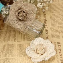 2/5pcs 9cm Burlap Flowers Rose Natural Handmade Jute Hessian Flower for Wedding Decor DIY Hat Headdress Wreath Craft Accessories 5pcs 7 x 9cm 2 76