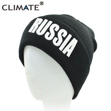 1de4d9468771d CLIMATE Mew Winter Warm Skullies 2018 RUSSIA 3D Logo National Day Black  Beanie
