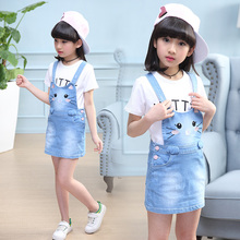 2019 New Summer Casual dress Sets Shirt+Jean Dress 2pcs set Clothing Kids overalls Suit For  5 6 7 10 Years girls clothes TTX073