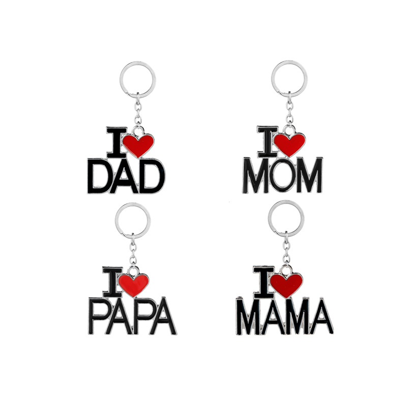 New Love Key Chains Family KeyChain for Men Women DAD MOM MAMA PAPA Key Holder Pendant Simple Gifts Big Love 4 Styles