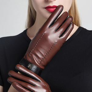 Image 3 - NEW 2020 Genuine Leather Women Gloves Female Elegant Two Tones Sheepskin Gloves Autumn Winter Warm Plush Lined 3326