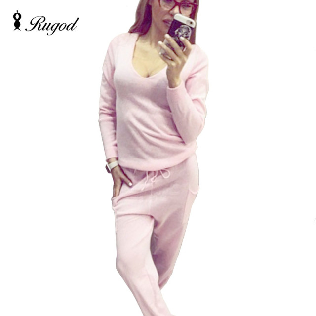 2 Pieces Set Women V-Neck Sexy Sweatshirt Autumn Solid Knitted Pullover Tracksuit And Long Pants Set Womens Casual Sweater Suit