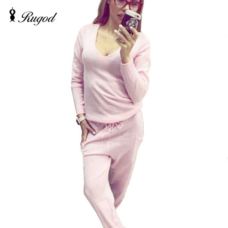 2019 Hot 2 Pieces Set Women V-Neck Sexy Pletené dvoudílné sady Jarní obleky Teplákový svetr svetr + Kalhoty Set Dámské Neformální oblek