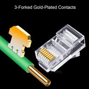 Image 5 - OULLX 20/50/100pcs RJ45 Connector 6U Gold PlatedPass Through Ethernet Cables Module Plug Network RJ 45 Crystal Heads Cat5 Cat5e