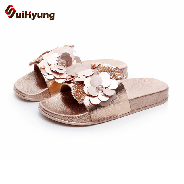b05f7ba3f Suihyung Fashion Design Women Summer Slippers Flat Shoes Sequined Beads  Flowers Beach Flip Flops Female Sandals Outside Slides