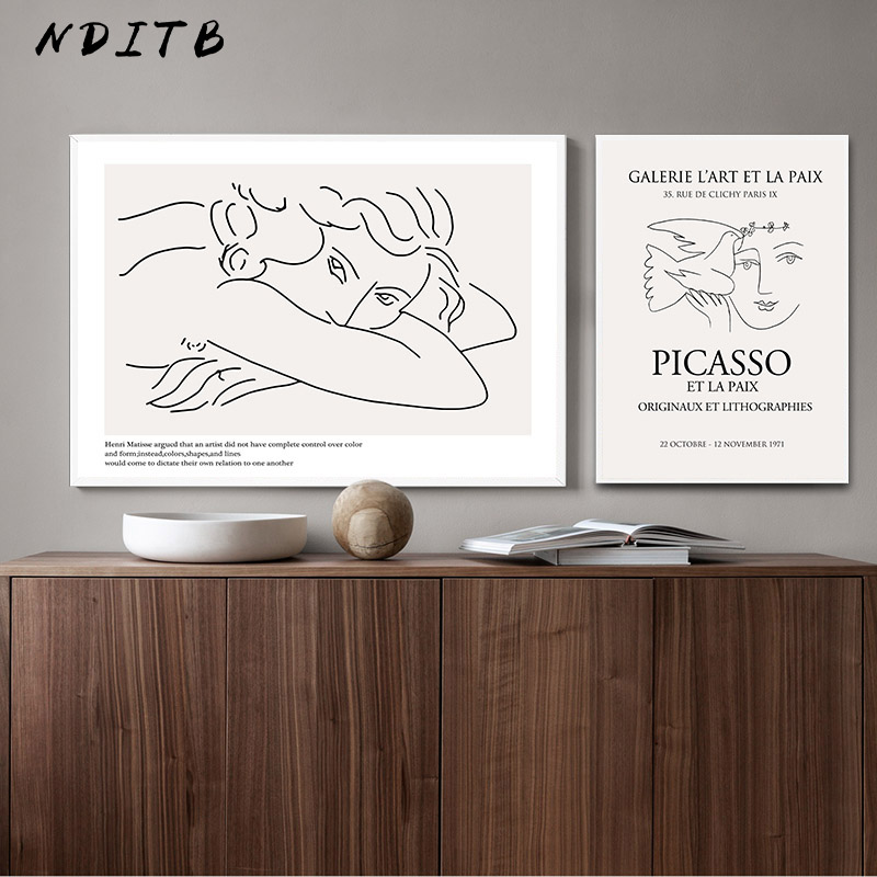 Picasso Matisse Art Line Drawing Poster Abstract Minimalist Wall Art Canvas Print Famous Painting Moder Decorative Picture