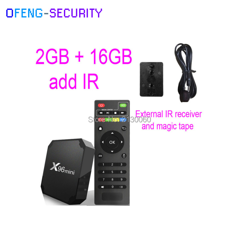Original X96mini Android 7.1 With 2GB+16 GB Add Ir Smart TV BOX Quad Core Amlogic S905W  Support 2.4 WIFI+IR Cable