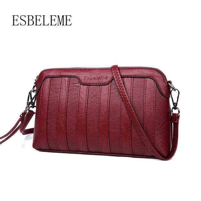 2018 Women Small Clutch Bag Genuine Leather Flap Female Burgundy Las Cow Mini Satchels Crossbody