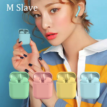 M Slave headphone wireless i12 tws inpods 12 earphone Earbuds with Mic for iphone xiaomi Samsung Huawei pk i10 tws inpods 12