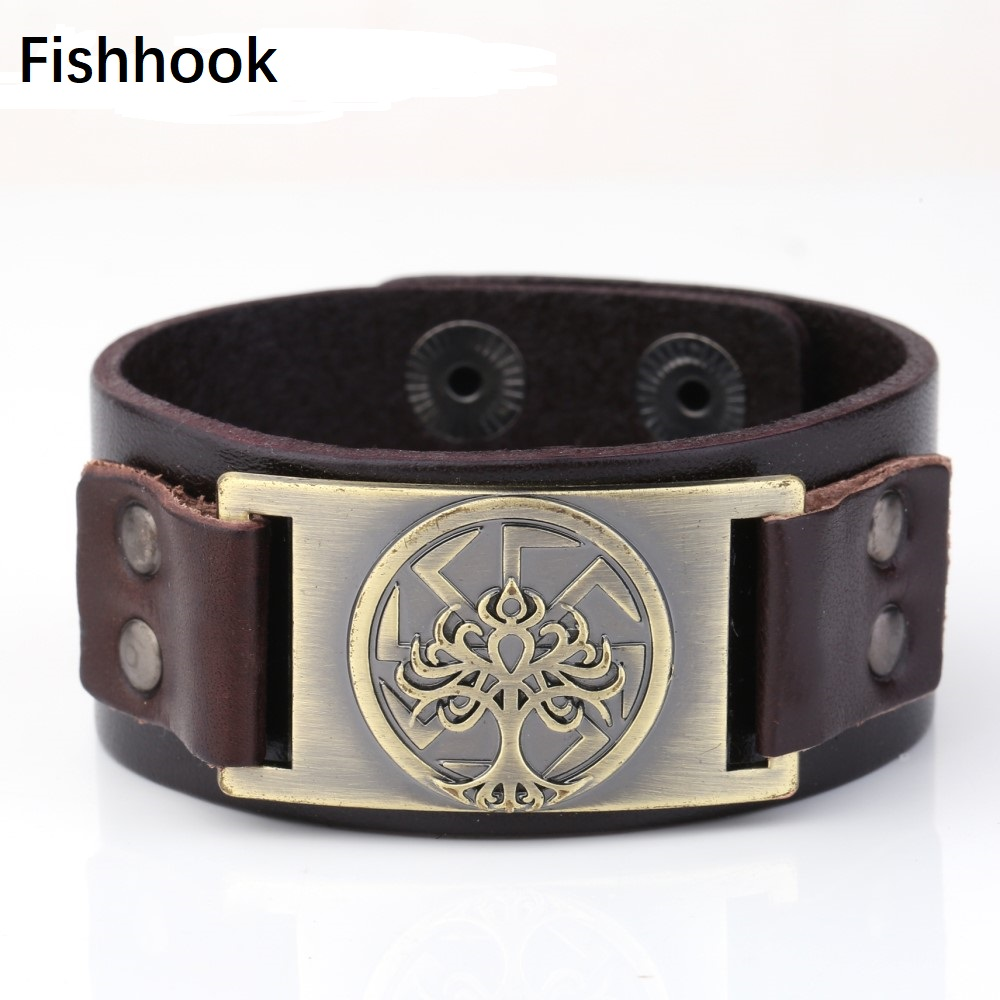 Fishhook Tree of Life Slavic Kolovrat Amulet Sigil Charms Talisman Bijouterie Leather Bracelet Snaps Pulseira Masculina Зарядное устройство