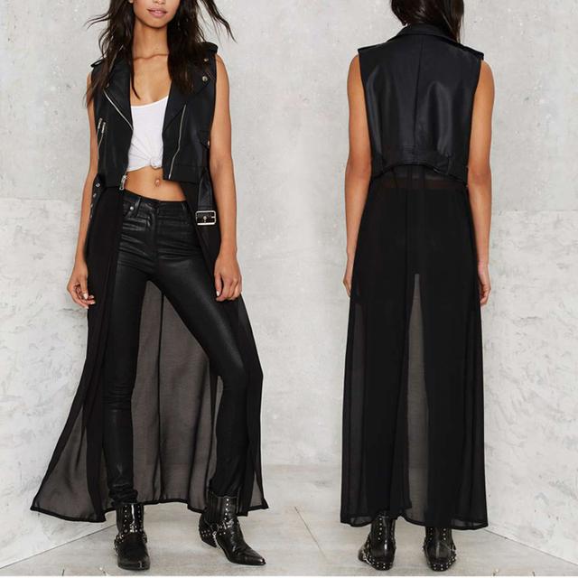 YIKUYIYA New Summer Fashion Women Jacket 2017 PU Contrast Solid Black Chiffon Zipper Sleeveless Belt Slim Jackets