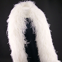 Woosee 1piece 2yards 12plys White Ostrich Feather Boa for Wedding Centerpieces Carnival Dress Ornaments Christmas Decorations