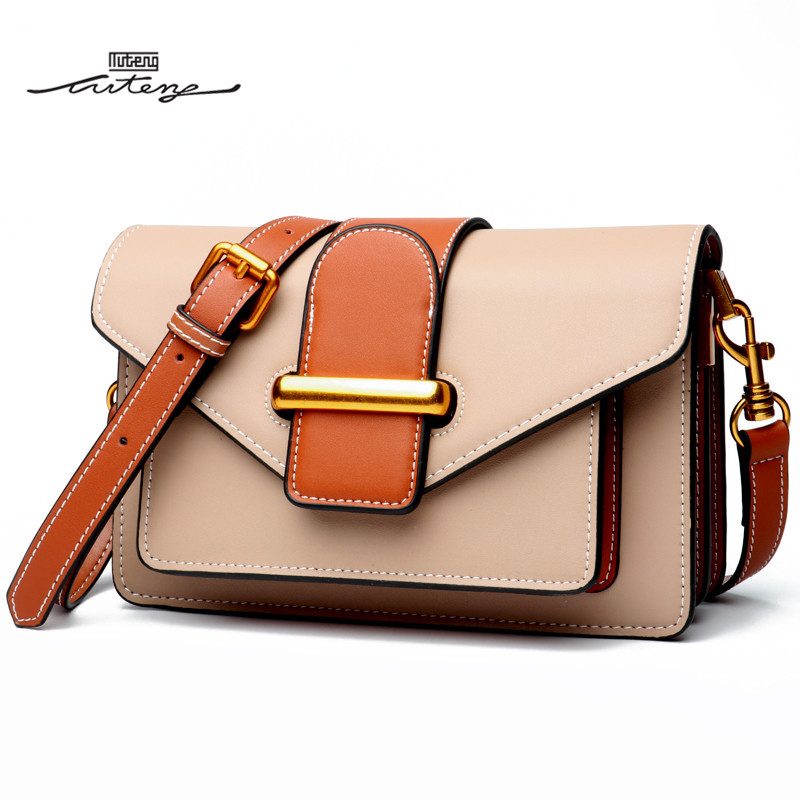 TU-TENG Shoulder Bags For Women Genuine Leather Crossbody Bags Ladies Portable Shoulder Women Belted Flap Crossbody A82507L