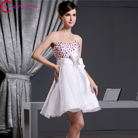 2018 New Arrival Elegant Organza Crystal Beaded Homecoming Dress Short Mini Prom Party Gowns Cocktail Dresses With Bow