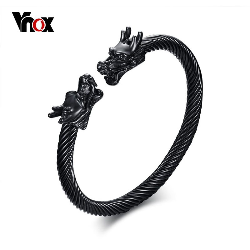 Vnox Dragon Head Cuff Bracelet Bangle for Men Stainless Steel Twisted Wire Viking Vintage Male Jewelry twisted stainless steel wire mens skull bangle bracelet