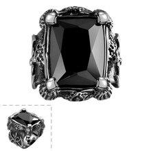 Envío gratis Punk negro hombres anillo negro gran Gem Stone Vintage anillo para hombre de acero inoxidable anillo hombre joyería fresca de calidad superior YR16