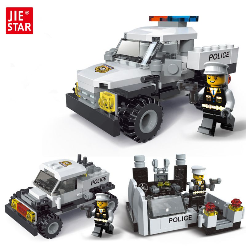 JIE-STAR Police Pickup Truck 3 Kinds Deformations City Police Building Block Toys for Children Boys DIY Police Block Toy 20026 jie star police pickup truck 3 kinds deformations city police building block toys for children boys diy police block toy 20026