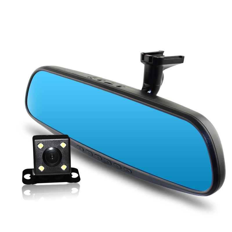 ANSHILONG 4.3 Special Car Rear view Mirror DVR Monitor HD 1280x720 Camera with Bracket + Backup Camera Dual Lens Recording