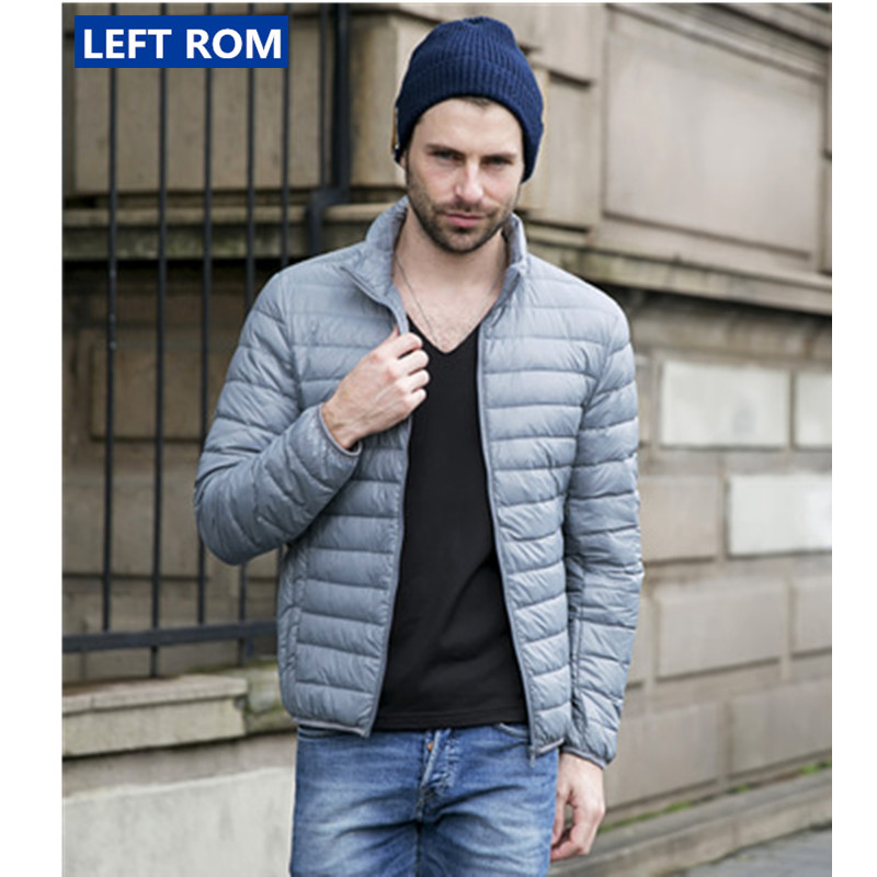 Left ROM New Autumn and Winter 2018 Mens Boutique Duck Feather Fashion Stand Collar Leisure Down Jacket / Male Large Size Coats