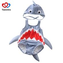 2020 nowy rekin strój kąpielowy dla chłopców dziewcząt ubrania letnie stroje kąpielowe słodkie maluch kostiumy kąpielowe niemowlę Bikini kostiumy kąpielowe kapelusz 2 sztuk tanie tanio Teenmiro Poliester COTTON Akrylowe Dla dzieci Unisex Pasuje prawda na wymiar weź swój normalny rozmiar Cartoon baby Shark Swimsuits