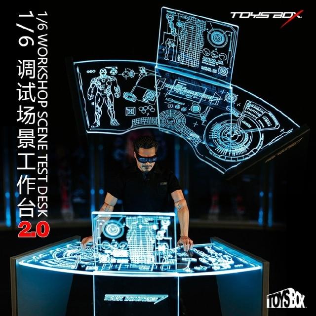 TOYS BOX 1/6 Iron Man Tony Acrylic Holographic Workshop Sence Test ...