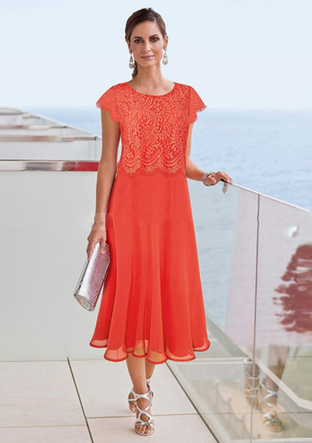 US $85.0 |Orange Tea Length Mother Of The Bride Dresses 2019 Beach Wedding  Lace Top Mothers Formal Wear Plus Size Evening Gowns Cap Sleeve-in Mother  ...