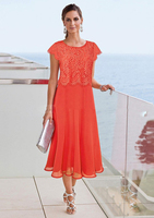 Orange Tea Length Mother Of The Bride Dresses 2018 Beach Wedding Lace Top Mothers Formal Wear Plus Size Evening Gowns Cap Sleeve